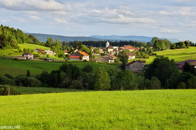 Photo of a rural landscape around Chateau des Pres village in french Jura