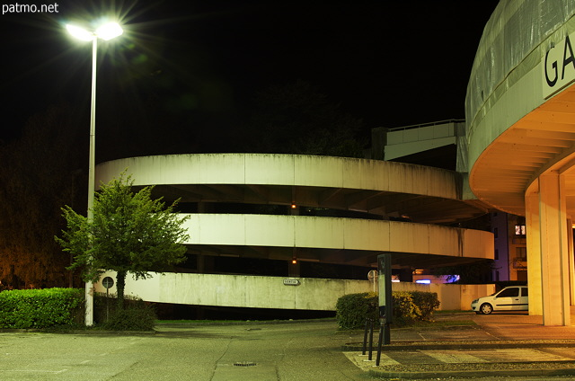 Night view of Galeries Lafayette parking in Annecy