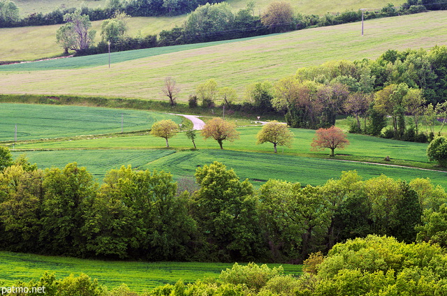 French countryside landscape with springtime colors