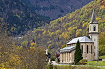 Picture of Saint Colomban des Villards church in the mountains. Savoie department, Maurienne area