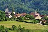Photograph of houses and church of Musiege village in the french countryside