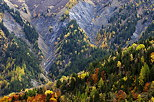 Photo of autumn forest and eroded mountains in Vallee des Villards