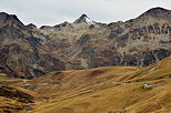 Picture with an autumn landscape in the mountains around Col du Glandon