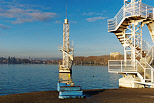 Image of Imperial beach diving towers on Annecy lake