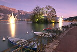 Image of a winter dusk on Annecy lake and Veyrier mountain