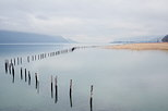Photo of lake Bourget under a winter sky
