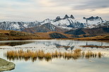 Picture of an autumn evening around lake Guichard with a view on Aiguilles d'Arves mountains