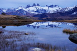 Picture of an autumn dusk around lake Guichard with Aiguilles d'Arves mountains and their reflection