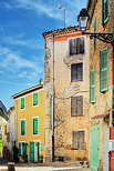 HDR image of some colorful houses in the streets of Collobrieres in Provence