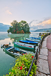 Picture with boats on Annecy lake in front of Swan Island