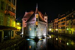 Photograph of Palais de l'Isle at night in Annecy