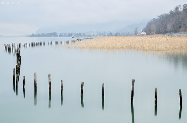 Image of a winter morning on lake Bourget near Aix les Bains