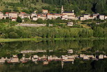 Picture of Saint Martial village in Ardeche, reflected in the lake