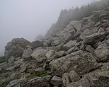 Picture of boulders and mist on Lauziere mountain in Ardeche