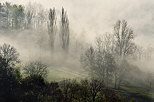 Image of the mist of an autumn morning on the french countryside