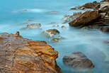 Long exposure photograph of the mediterranean coast at Carqueiranne in Provence