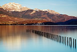 Image of springtime on Annecy lake and Tournette mountain in Sevrier