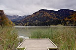 Picture of a deck in the reeds at lake Vallon