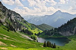 Landscape of the french Alps near Abondance with Arvouin lake and Mont de Grange
