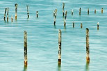 Photograph of poles in Annecy lake at Saint Jorioz