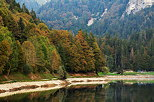 Photograph of a colorful autumn forest around the lake in Montriond