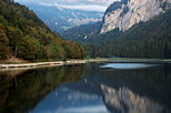 Photo of an autumn evening landscape around the lake in Montriond