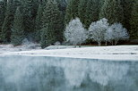 Photograph of the white frost around Genin lake by an autumn morning