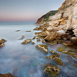 Image of a mediterranean dawn on Bau Rouge beach at Carqueiranne in Provence