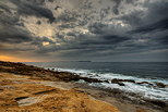 Photo of a stormy dawn on the Mediterranean coast in Provence
