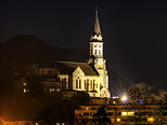 Photograph of Visitation basilica illuminated by night in Annecy